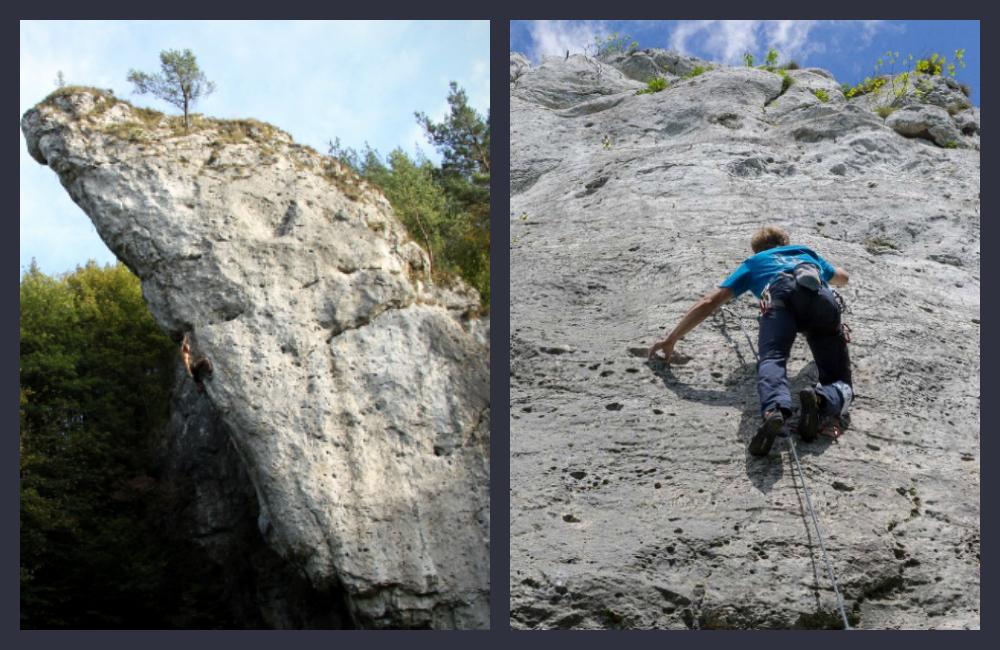 Jura Południowa - Po lewej: Pochylec (fot. Kamil Żmija), po prawej: Zulus Czaka (fot. Maciek Rabsztyn)