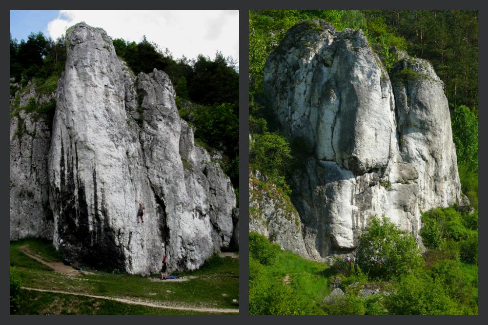 Jura Południowa - Po lewej: Filar Abazego, po Prawej: Filar Zjazdowy ( fot. A. Mirek)