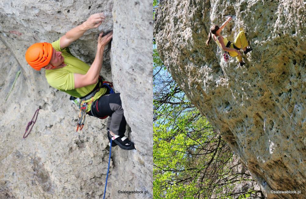 Po lewej: Altag in Franken 7+, wspina się Romuald Kotowicz, po prawej: Dampfhammer 8 , wspina się Kasia Ceralewska (fot. Michał Grzyb)