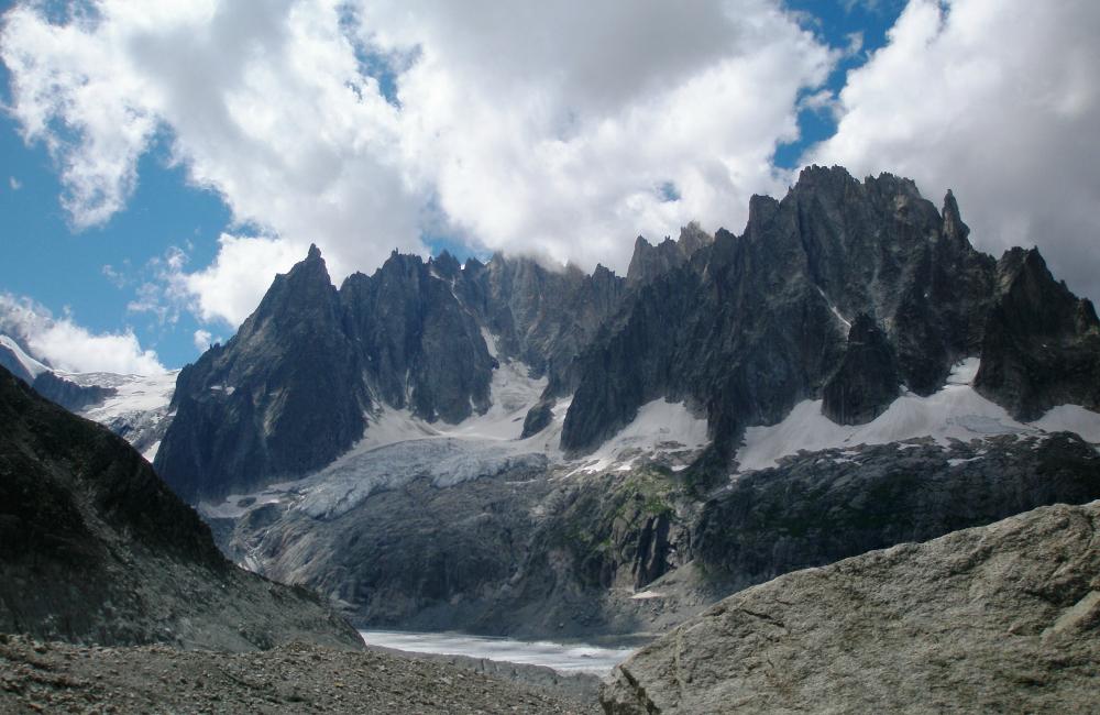 Igły Chamonix widziane z lodowca Leschaux (fot. A.Malinger)