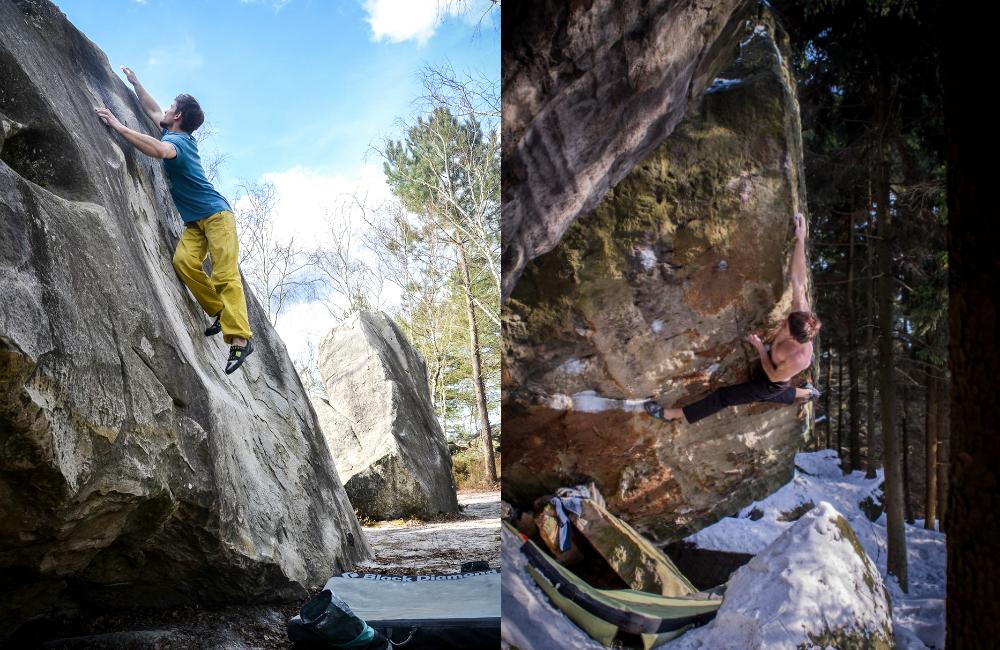 Po lewej: dynamiczny ruch w połogu, Fontainebleau (Karolina Stawoska), po prawej: Vzeli mi muj sen 7C, Ostas w Czechach (fot. Nikita Pavlenko)