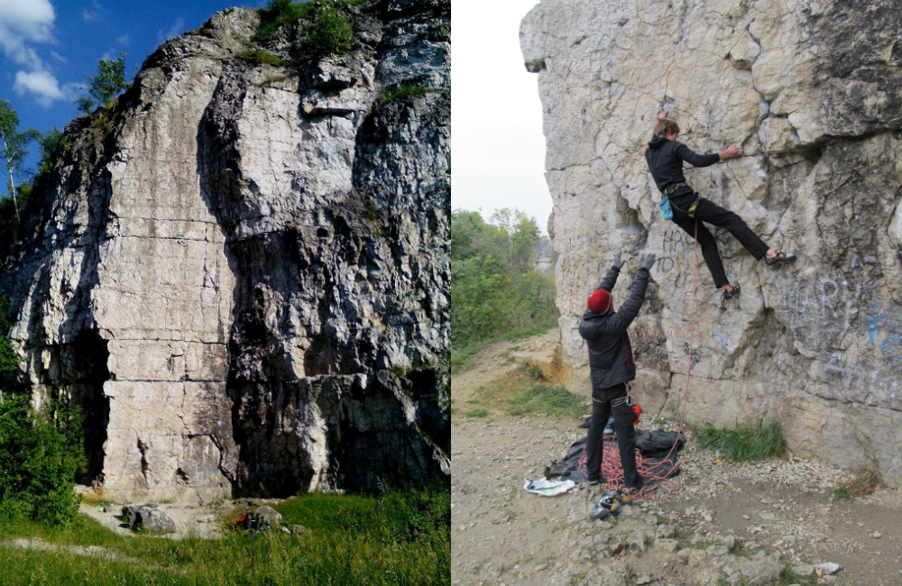 Po lewej: Freney (fot. Dominik Cyran), po prawej: Michał Czech wspina się na Nitach (fot. autorka)