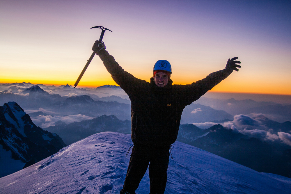 Autor na szczycie Mont Blanc, lipiec 2009 (fot. autor)