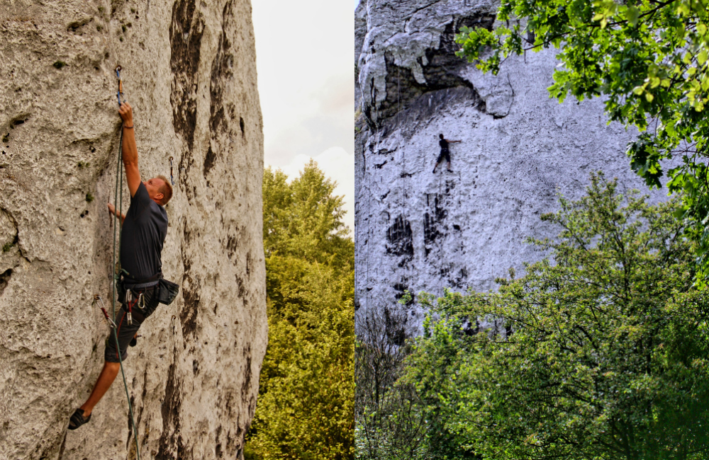 """Po lewej: na Drodze Jungera wspina się Tomek Pyka; po prawej: Jacek """"Jaca"""" Zaczkowski na drodze Dzień jak co dzień"""
