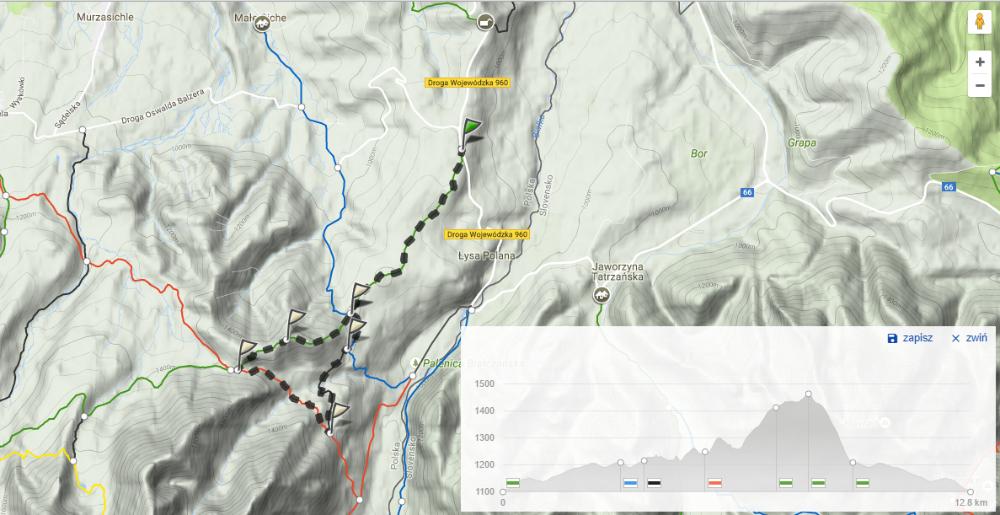Mapa trasy biegowej Wierch Poroniec
