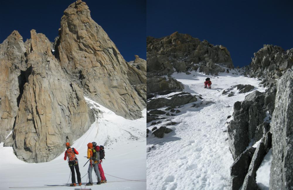 Po lewej: podejście na grań Kuffner prowadzi obok Grand Capucin; po prawej: podejście śnieżną rampą na przełęcz Fourche (fot. autor)