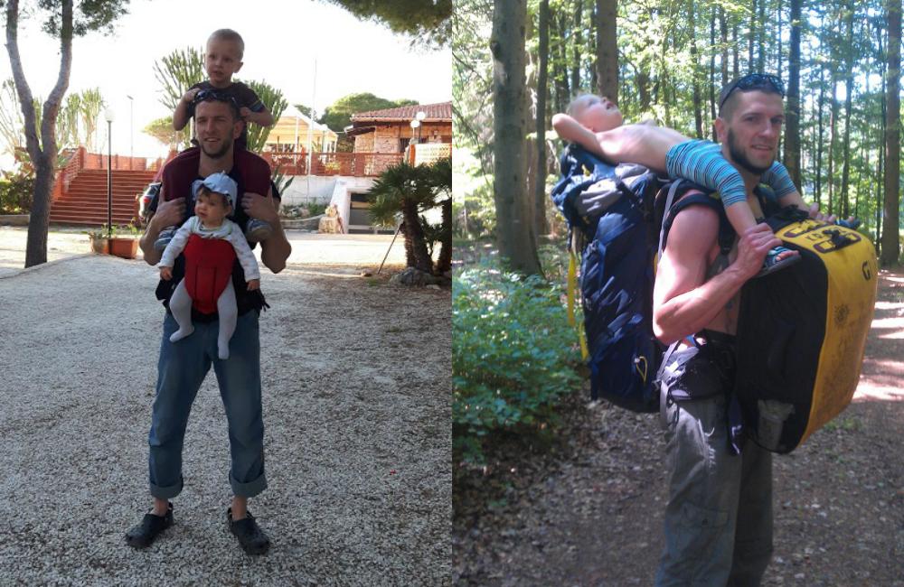 Tata z dwójką dzieci, gotowy do wędrówki i wspinaczki