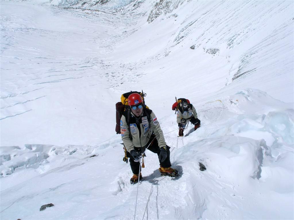 Mount Everest wejście ścianą Lhotse do obozu III
