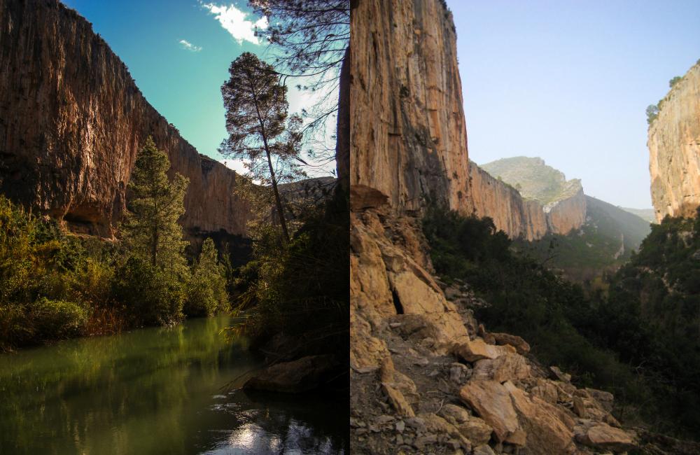 Po lewej: dalszy kanion - na pierwszym planie Caverna Diagnostico - są też dachy w Chulilli, po prawej: dalszy kanion - w oddali Chorerras i Oasis