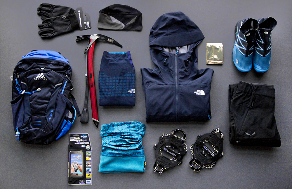 Przykładowy zestaw dla biegacza górskiego na zimę