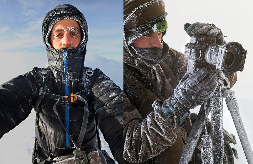 Praca fotografa zimą