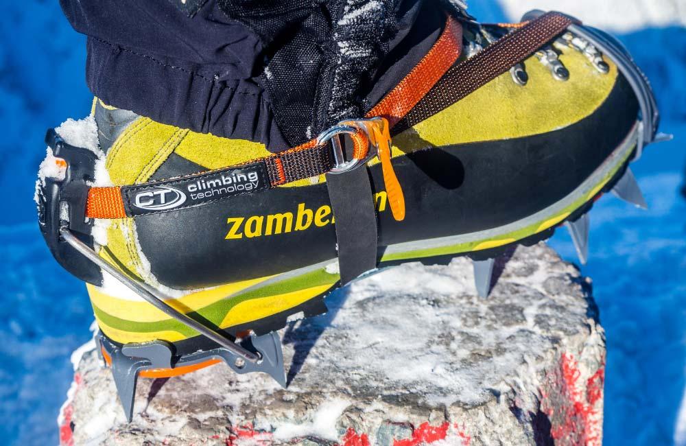 Buty wysokogórskie Zamberlan i raki Climbing Technology