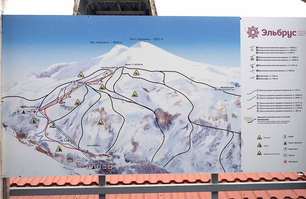 Infrastruktura na zboczach Elbrusu - mapa