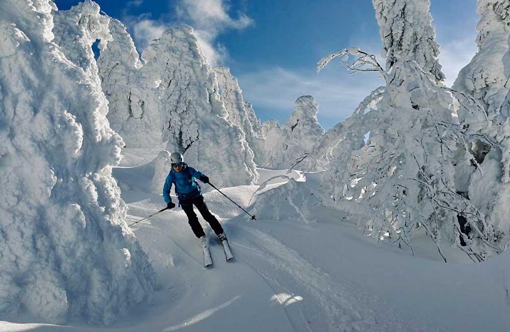 zjazd ze szczytu Śnieżnika w kierunku zachodnim
