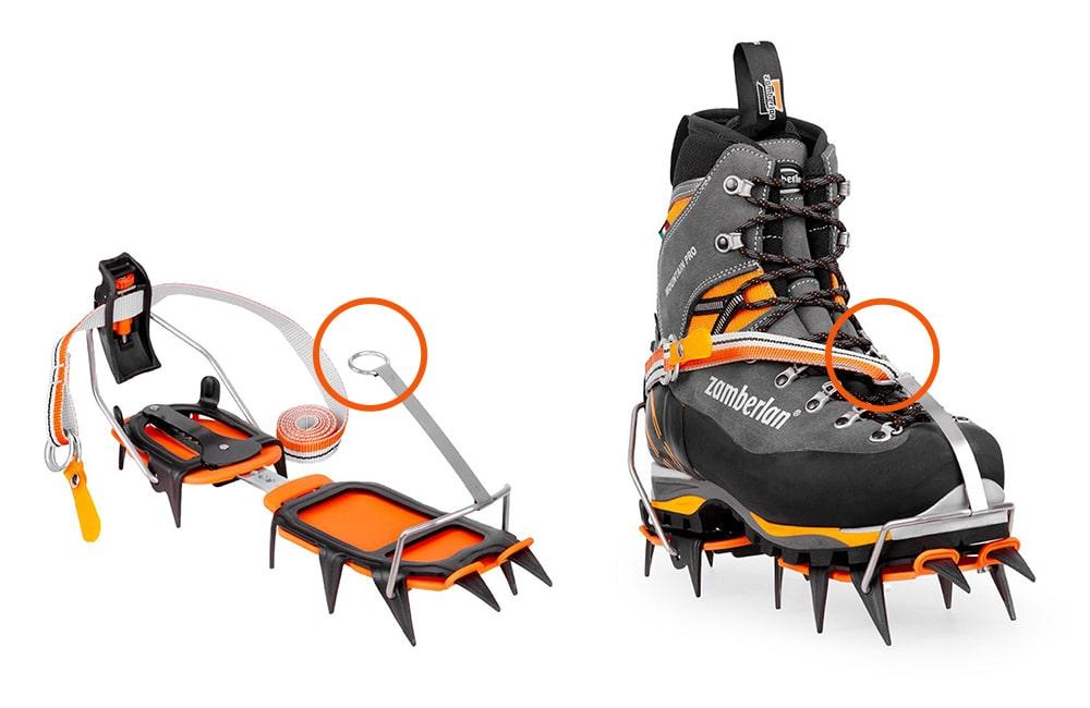 Mocowanie raków automatycznych na buty