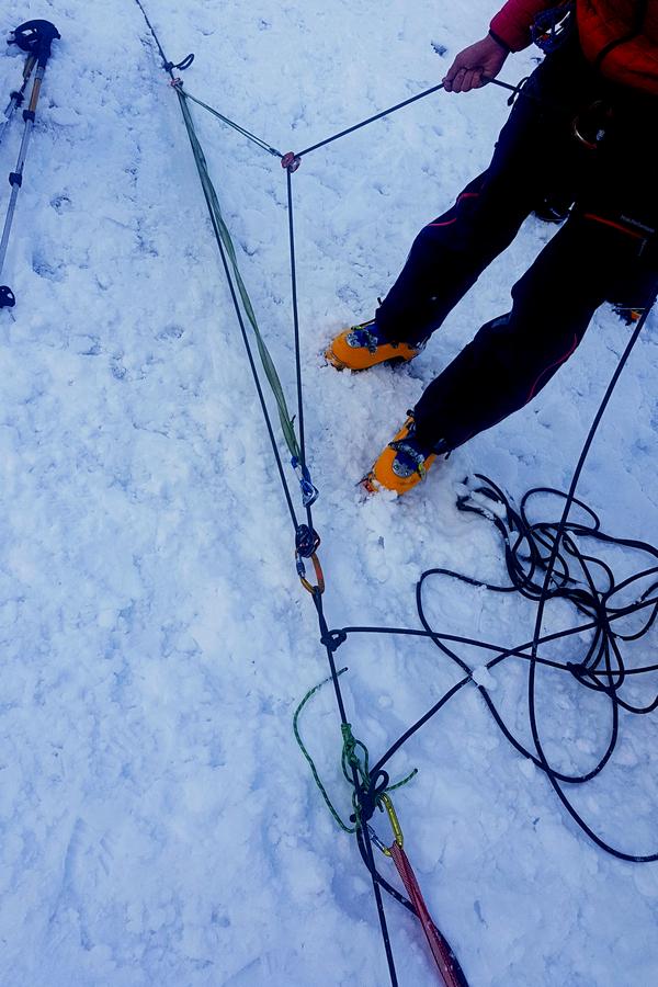 system bloczków wyciąganie ze szczeliny lodowca