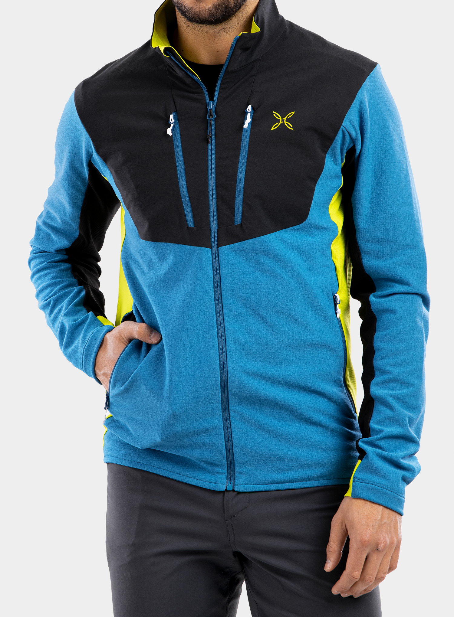 Bluza Montura Stretch Pro 2.0 Jacket - teal blue/lime green - zdjęcie nr. 3