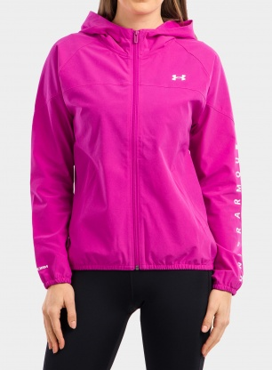 Bluza damska Under Armour Woven Hooded Jacket - m.pink/white