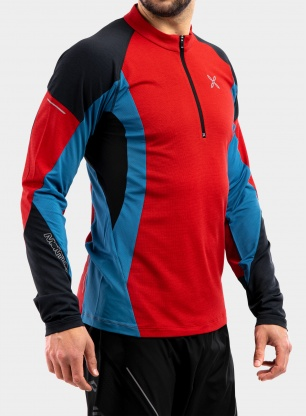 Bluza do biegania Montura Run Energy Zip Maglia - red/teal blue