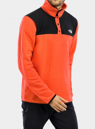 Bluza The North Face TKA Glacier Snap-Neck Pullover - flare/blk