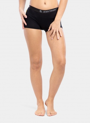 Bokserki damskie Sensor Merino Active Panties Boyshort - black