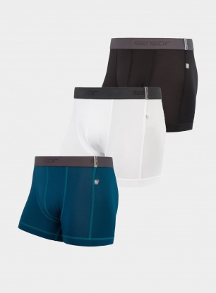Bokserki Sensor Coolmax Tech Boxers 3 pack - black/white/saphire
