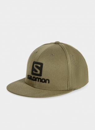 Czapka z daszkiem Salomon Logo Cap Flexfit - olive night