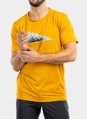Koszulka Columbia Tech Trail Graphic Tee - bright gold tonal peaks