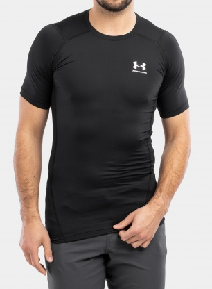 Koszulka Under Armour HG Armour Comp S/S - black/white