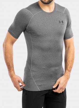 Koszulka Under Armour HG Armour Comp S/S - c.heather/black