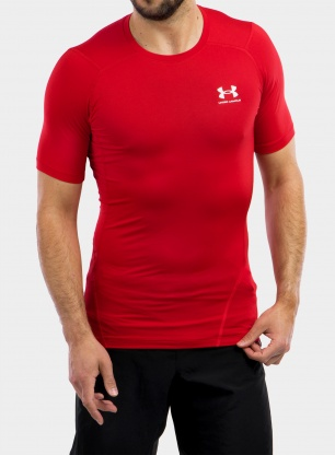 Koszulka Under Armour HG Armour Comp S/S - red/white