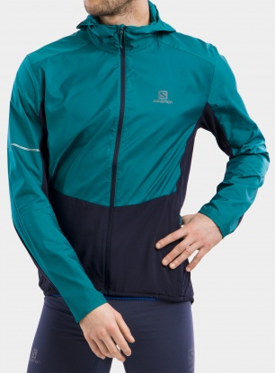 Kurtka biegowa Salomon Agile FZ Hoodie - pacific/night
