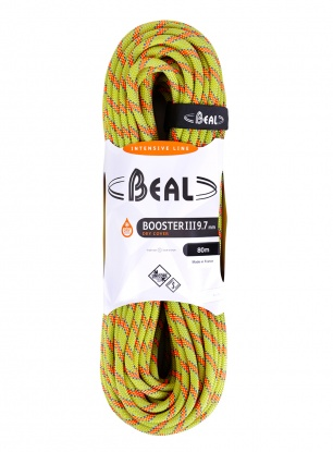Lina dynamiczna Beal Booster III 9,7 mm 80m Unicore Dry Cover - anis