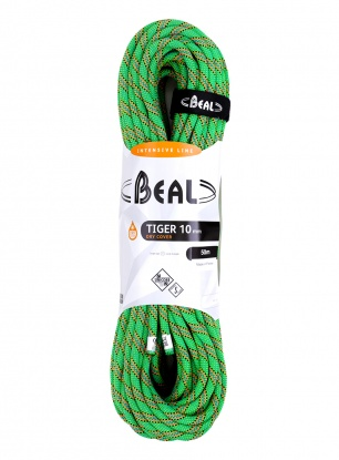 Lina wspinaczkowa Beal Tiger 10 mm 50m Unicore Dry Cover - green