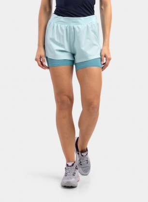 Spodenki damskie Under Armour IsoChill Run 2N1 Short - breeze/cosmos