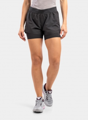Spodenki damskie Under Armour IsoChill Run 2N1 Short - jet gray/jet