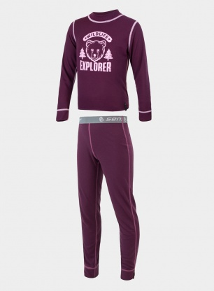 Zestaw Sensor DF Set Wild Tee L/S + Underpants Youth - purple