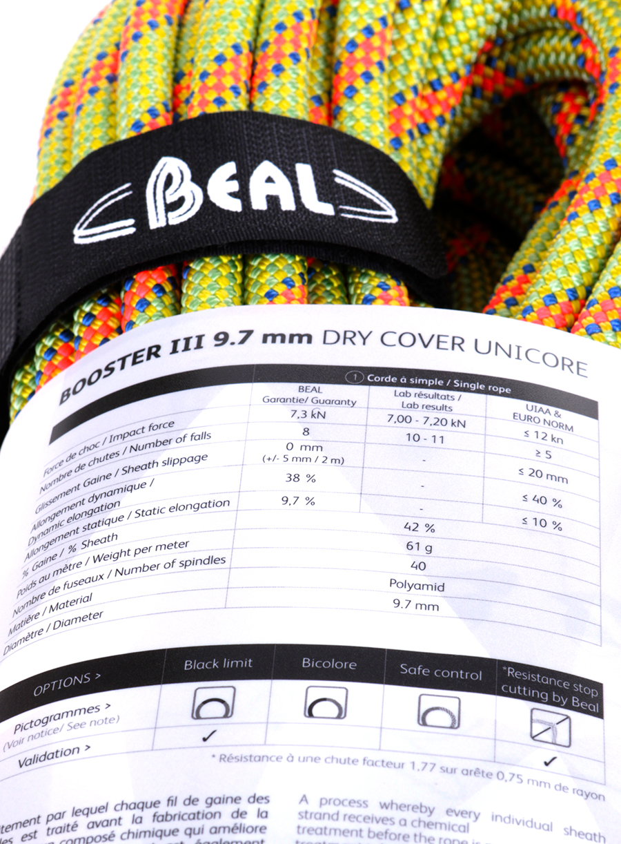 Lina dynamiczna Beal Booster III 9,7 mm 50m Unicore Dry Cover - anis - zdjęcie nr. 6