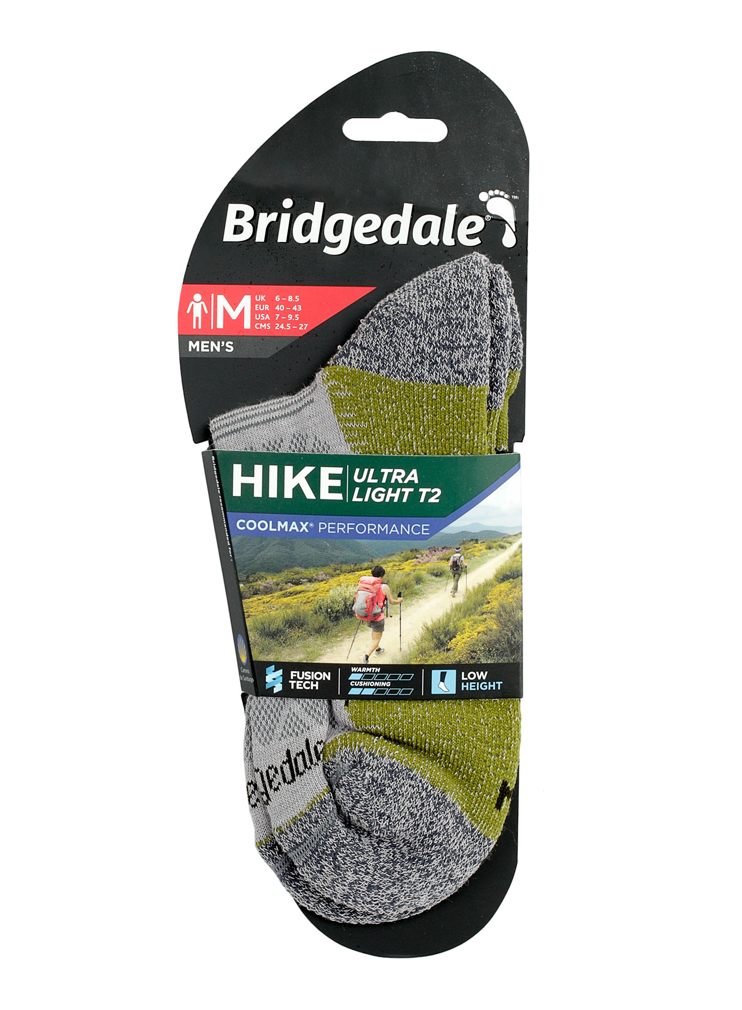 Skarpetki Bridgedale Hike Ultra Lt T2 Coolmax P Low - grey/green - zdjęcie nr. 2