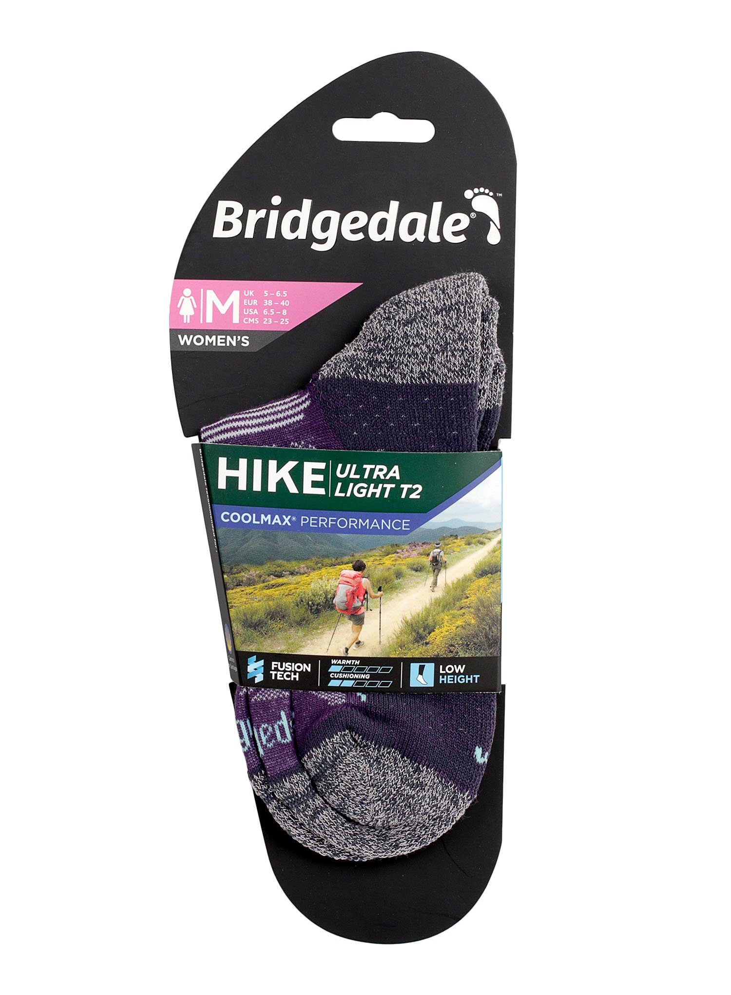Skarpetki Bridgedale Hike Ultra Lt T2 Coolmax P Low - purple/grey - zdjęcie nr. 2